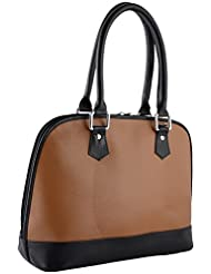 ZSOSS Genuine Leather Handbag (ZSOSS004-Beigeand Black)