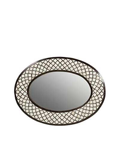Jamie Young Mughal Oval Mirror, Chocolate/Cream