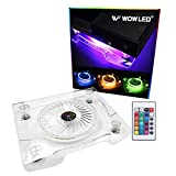 WF Upgrade USB RGB LED Cooler Cooling Fan Stand, Wireless Remote Controller IR, Multi-Color LED Light Accessories for PS4 Playstation 4 Pro, PS4 Slim, Xbox One X, Notebook, Laptop, Gaming Consoles (Color: New IR Remote RGB Fan)