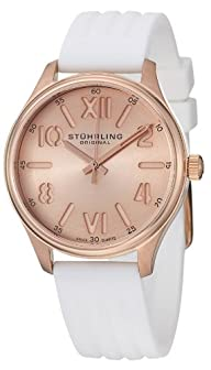 Stuhrling Original Women's 565L.03 Ascot Variance Swiss Quartz Rose Tone Dial Watch