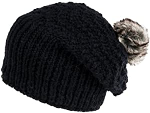 Nirvanna Designs CH715 Sherpa Knit Slouch Hat with Faux Fur Pom and Fleece, Black