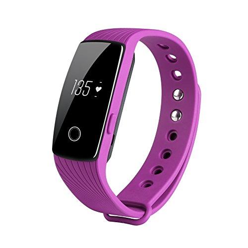 COOSA ID107 Activity Tracker , Fitness Tracker, Braccialetto Monitoraggio Battito Cardiaco e Rilevamento,Wireless Activity Wristband , Touchscreen Oled Intelligente Sport Braccialetto per Android e IOS (3Viola, ID107)