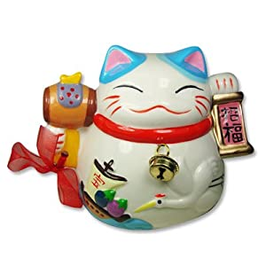 Worrywart Feng Shui Maneki Neko Lucky Cat Money Piggy Bank White (crane & boat)