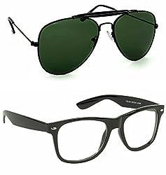 Redix New 2 in 1 combo TraditionaL Black Aviator Sunglasses