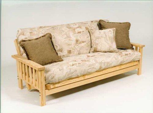 wide mission futon frame w 9inch premium futon mattress. Black Bedroom Furniture Sets. Home Design Ideas
