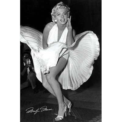Marilyn Monroe Movie (White Dress, Seven Year Itch) Poster- 24x36 custom fit with RichAndFramous Black 24 inch Poster Hangers