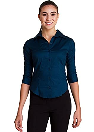 Woman Teal Blue Regular Fitted Button Up 3 4 Sleeve Point