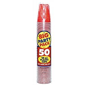 Apple Red Big Party Pack - 16 oz. Plastic Cups by Amscan