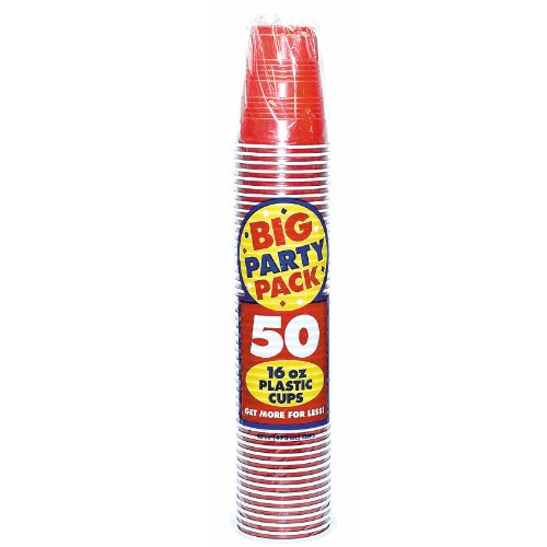 Apple Red Big Party Pack - 16 oz. Plastic Cups - Set of 50 Cups