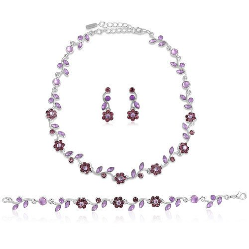 Silver Tone Amethyst Crystal 3-pcs Necklace Earrings Bracelet Set