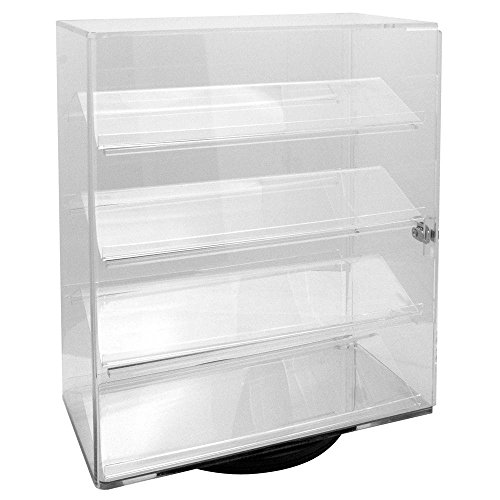 Acrylic Clear Rotating Lucite counter top display with 4 shelves and lock. (Display Case Countertop compare prices)