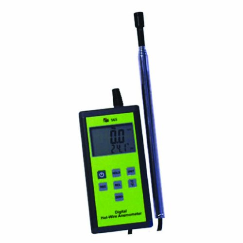 TPI 565C1 Digital Anemometer with Hot-Wire Probe, 0.2 to 20 m/s Velocity, -20 to +80° C Temperature
