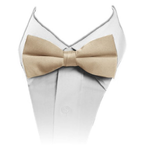 Poly Satin Banded Bow Ties Color: Champagne To-41