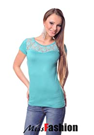 Ladies front lace top size M fits UK 8 / 10 beige mint black Natural Beauty (Green / Mint )