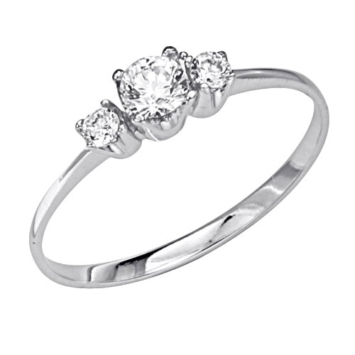 14K White Gold 3 Three Stone Round CZ Cubic Zirconia High Polish Finish Ladies Wedding Engagement Ring Band (Size 4 to 9) - Size 5