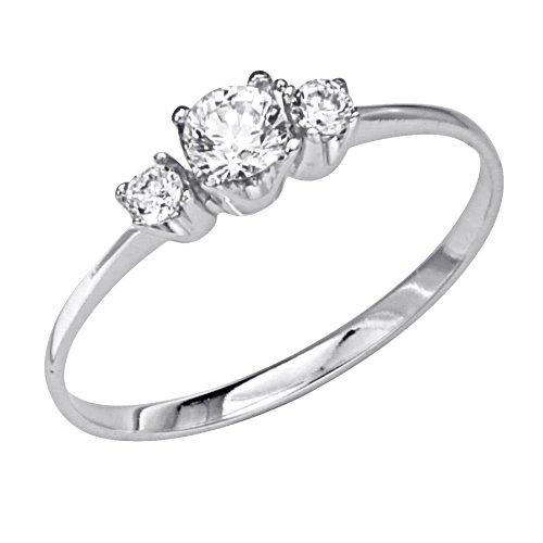 14K White Gold 3 Three Stone Round CZ Cubic Zirconia High Polish Finish Ladies Wedding Engagement Ring Band (Size 4 to 9) - Size 4