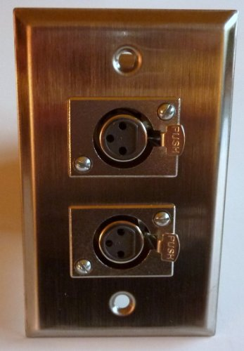 Philmore Stainless Steel Wall Plate With Dual 3-Pin Female Microphone Connectors; 75-727