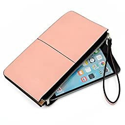 Glamdaisy Women\'s Leather Wallet Zipper Clutch Wallets with Wrist Strap for iphone 6s Plus, Samsung S7 (Pink)