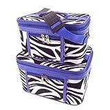 Jenzys Train Case Cosmetic Toiletry 2 Piece Luggage Set Purple Trim Black & White Zebra Print