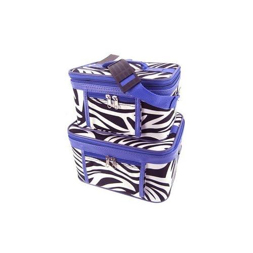 Train Case Cosmetic Toiletry 2 Piece Luggage Set Purple Trim Black & White Zebra Print