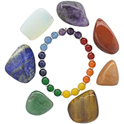 Chakra Healing Set - 7 Piece Assorted Polished Gemstones with Stone Bracelet