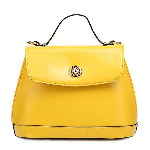 Mn&Sue Women's Summer Urban Concise Oil Wax Leather Satchel Flap Top Handle Dome Bag Messenger Handbag (Yellow)
