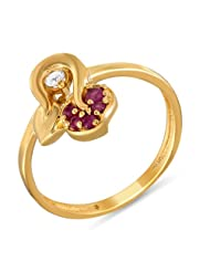 Mahi Ruby & CZ 24K Gold Plated Fashion Finger Ring For Women FR1100307G