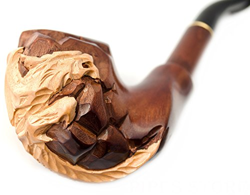Tobacco Pipes, Smoking Pipe DRAGON ON STONE, color Brown 18cm