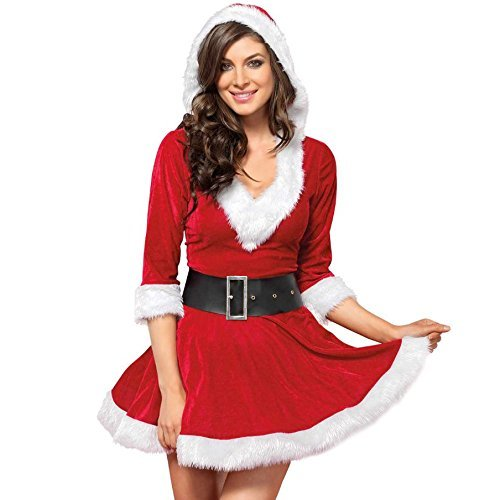 Gikfun Mrs Claus Hooded Dress Costume for Christmas Party Gift Naughty Costume EK8432 (Mrs Claus Christmas)