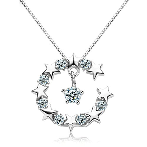 Beydodo Silver Plating Necklace(Pendant Necklaces) For Women Cubic Zirconia White Round Stars (Madonna Material Girl Fancy Dress)