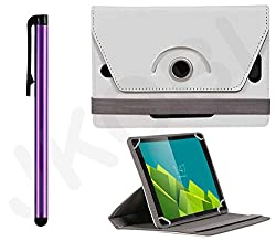 Value Combo Of Tablet Book Flip Case Cover And Stylus Touch Screen Pen For Lava E-Tab Xtron+ Plus (Universal) -White