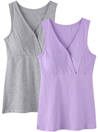 SUIEK Women Maternity Nursing Tank Top Camisole Sleep Bra For Breastfeeding (Medium: Fits for Weight 130-155 lb, Purple + Grey (2PCs Camisole))