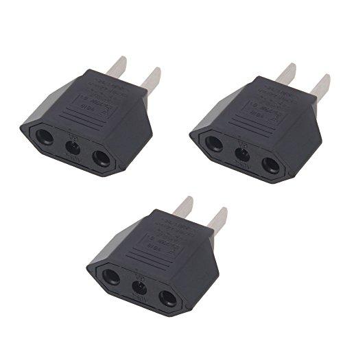 Vamery 3PCS EU Europe to US USA Travel Power Plug Adapter Converter Black (Us Eu Plug Adapter compare prices)