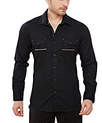 Davos Men's Cotton Casual Shirt(DS-02-Black_XLarge)