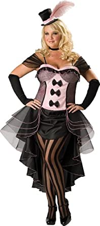 InCharacter Costumes, LLC Burlesque Babe Adult Plus Dramatic Cascade Dress, Pink/Black, XX-Large