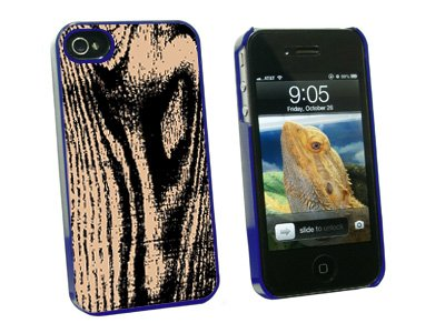 Wood Grain Tan - Snap On Hard Protective Case for Apple iPhone 4 4S - Blue