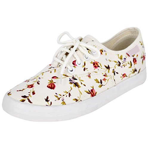 Oasap-Mujer-Zapatillas-Planas-de-Lona-Casual-Estampado-Floral-Cordones-para-Arriba