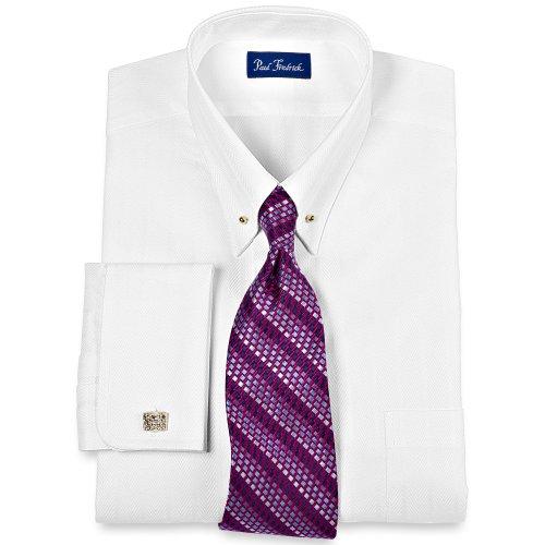 Paul fredrick men 39 s 2 ply cotton satin stripe eyelet for Mens eyelet collar dress shirts