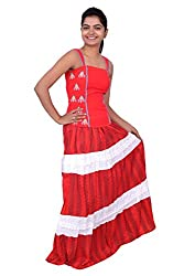 YAARI Cotton Red Printed Skirt with Stylish Stripes Plain