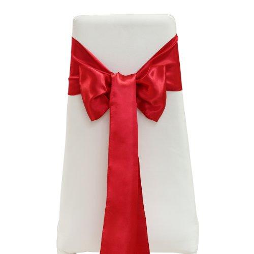 25 x Ruban Satin Noeuds De Chaise déco mariage 15x275cm Rouge