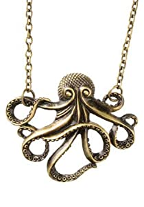 Vintage Steampunk Nautical Style Antiqued Bronze Octopus Necklace 28 inch Long Chain