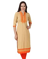 Noor Women's Cotton Linen Embroidered Kurta (NW_0030S_LARGE_YELLOW)