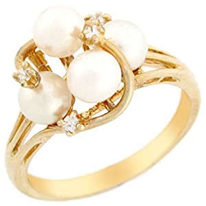 10k Solid Yellow Gold Four Freshwater Pearl & CZ Beautiful Cluster Ring