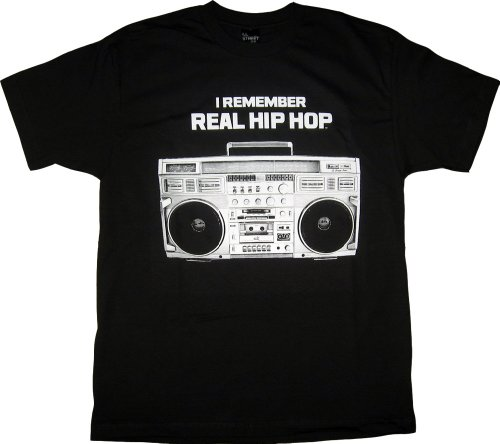 Isb Products Ill Street Blues I Remember Real Hip Hop With Boombox Radio T-Shirt - Small - Black
