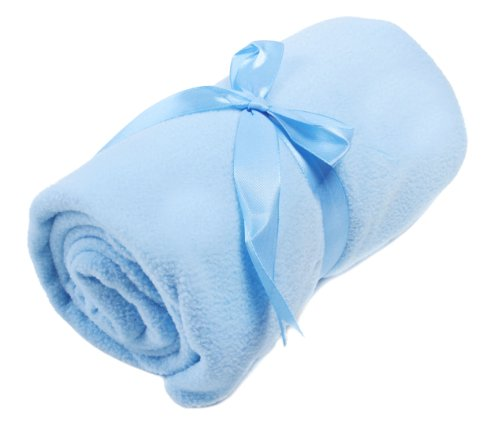 Set Of 3 Baby Care Gift - Blue Blanket W/ Ribbon Tie, Beanie Cap, Diaper Bag Set