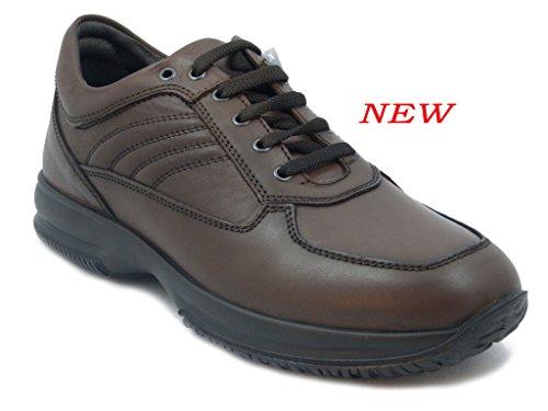 Imac Scarpa uomo, sneaker in pelle colore marrone, scarpa con lacci, sottopiede estraibile e suola in gomma antiscivolo-60990 i16
