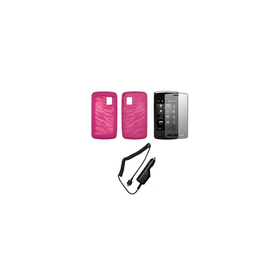 Transparent Pink and Hot Pink Zebra Stripes Design Soft Silicone Gel Skin Cover Case + LCD Screen Protector + Rapid Car Charger for LG Vu CU920