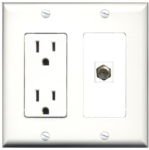 Riteav - 15 Amp Power Outlet And 1 Port Coax Cable Tv- F-Type Decora Type Wall Plate White