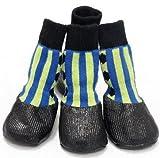 犬 用 ソックス 防水 シューズ サイズ色々 ( ブルーストライプ いぬ 用 靴 1足分4個セット ) よそ行き 旅行 散歩 雨靴 ドッグウェア 通院 等に (6# サイズ)