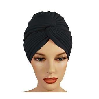 Black Pleated Turban Hat Head Cover Sun Cap cc7c6451ca21